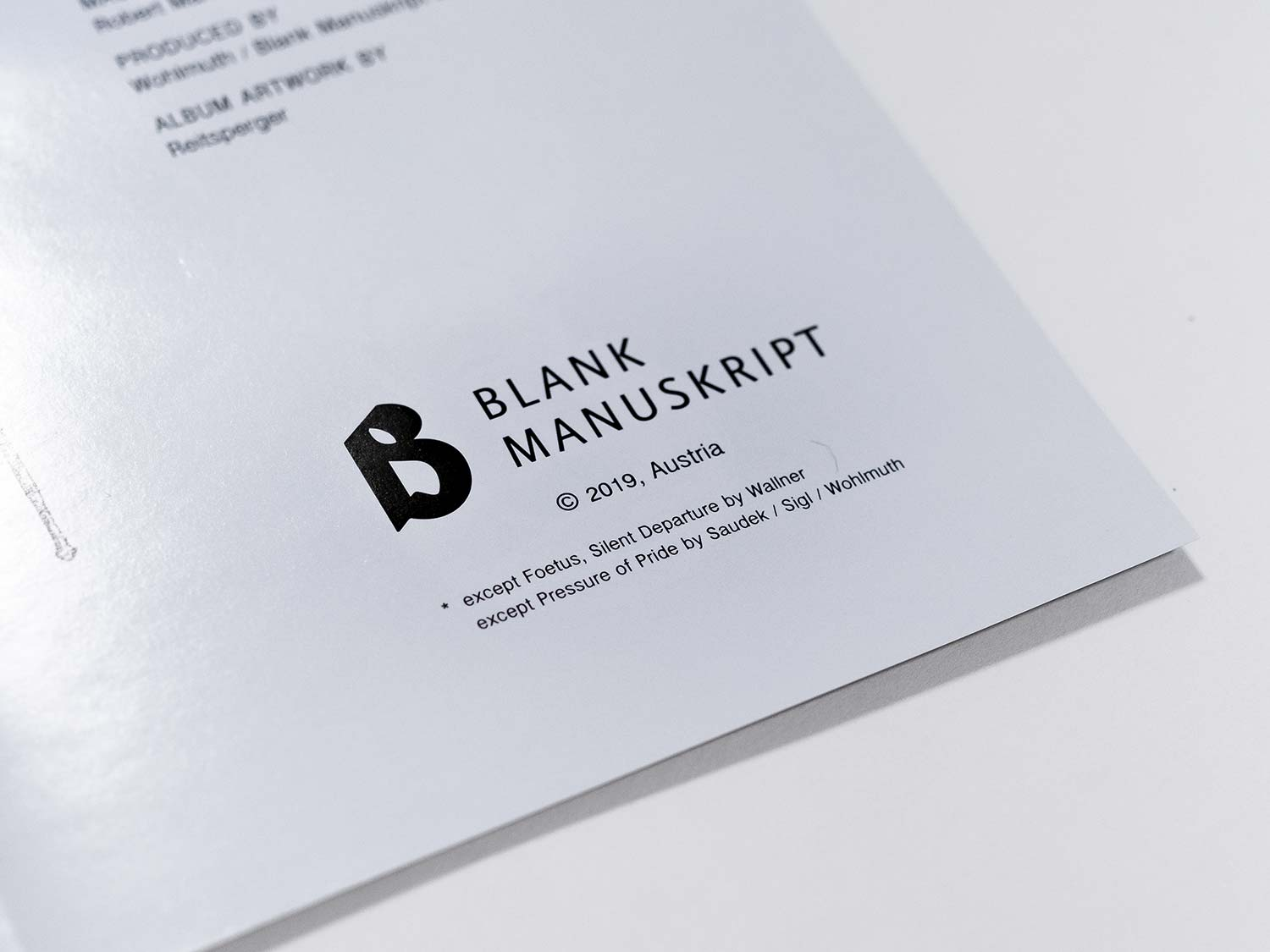 The picture shows a detail of the booklet of Blank Manuskript's release Krasna Hora.