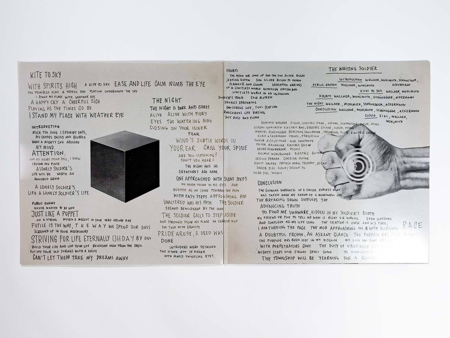 The picture shows the booklet design of Blank Manuskript's release The Waiting Soldier.