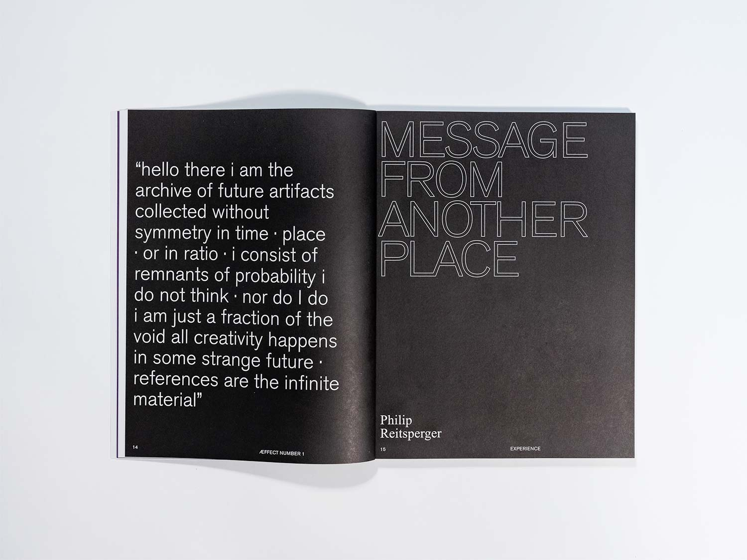 The picture shows a spread of the Æffect Journal.