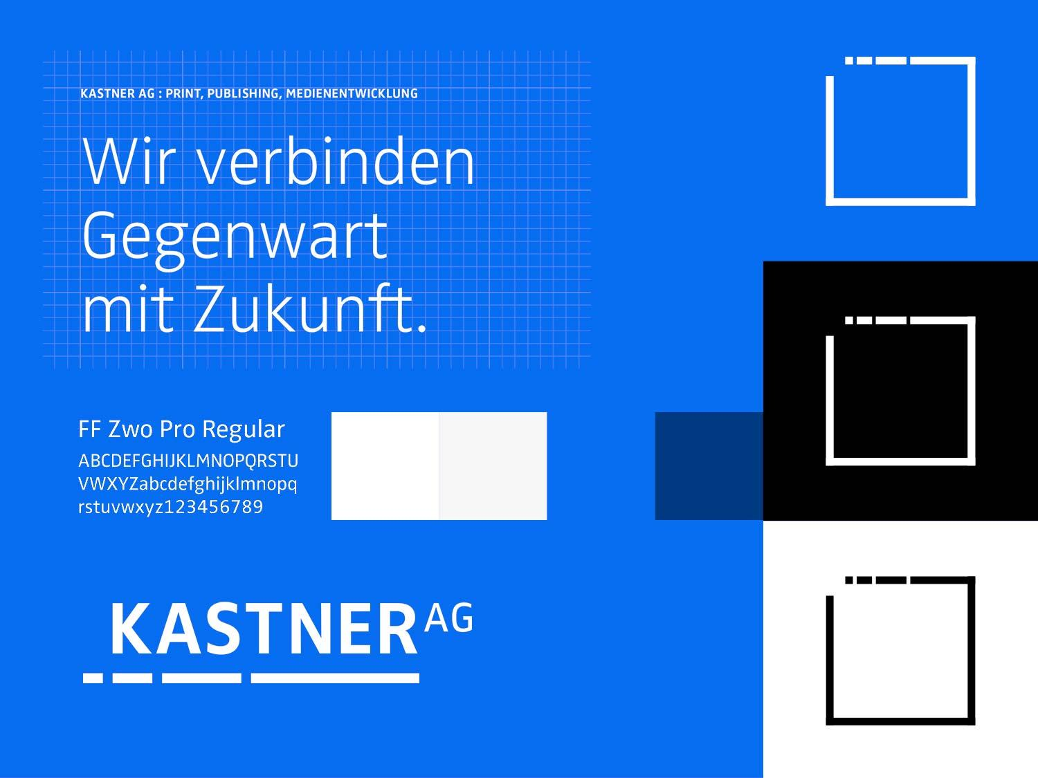 The picture shows design elements of Kastner AG's brand identity.