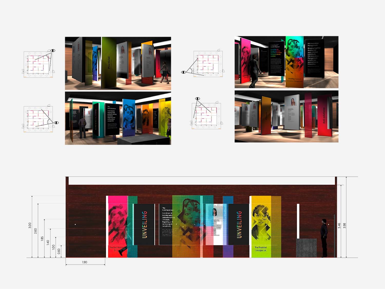 The picture shows designs of the MAIM exhibition design.
