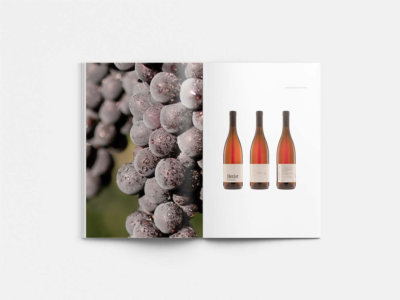 Ein Bild zeigt Elemente der Brand Identity von Herist Wein.