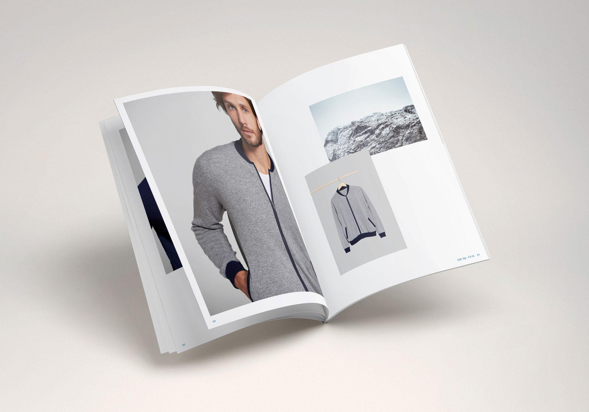 The picture shows a spread of a catalogue design for Mark & Leon.