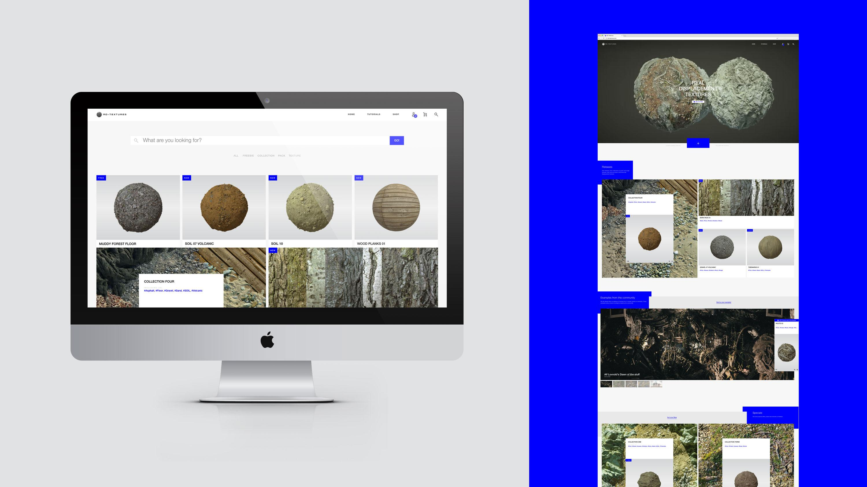 The picture shows design elements of RD-Textures website