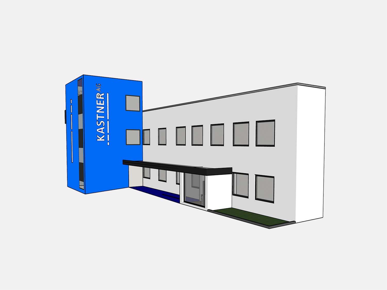 Ein Bild zeigt die konzeptionelle Gestaltung des Firmengebäudes der Kastner AG. Entwickelt von Identity Lab.