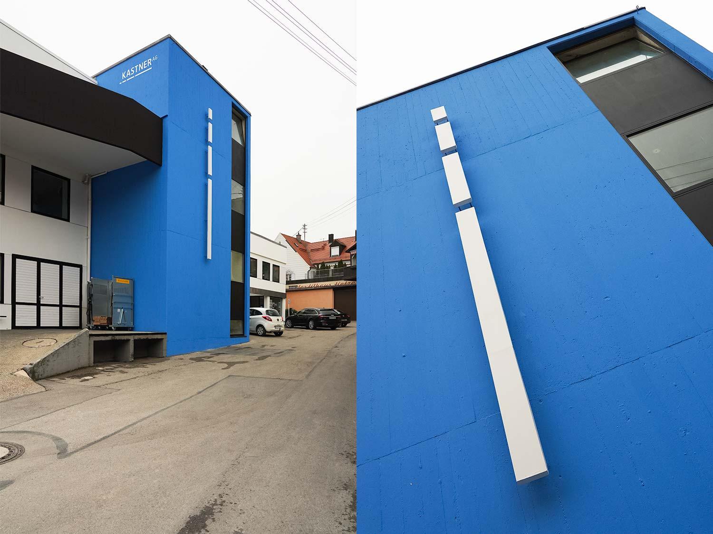 Ein Bild zeigt die Umsetzung der Gestaltung des Firmengebäudes der Kastner AG. Entwickelt von Identity Lab.